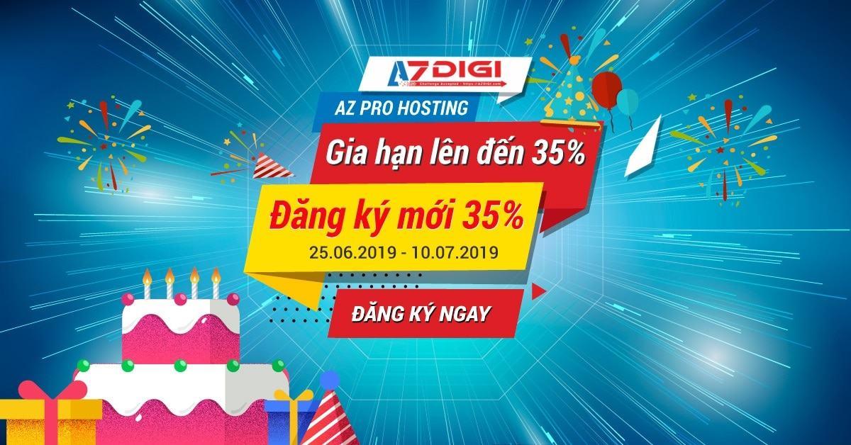 AZDIGI giảm giá tới 35%, áp dụng cả Gia hạn dịp sinh nhật